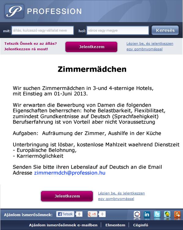 német önéletrajz minta szobalány Külföldi szobalány, német   Profession.hu német önéletrajz minta szobalány